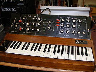 Music technology (electronic and digital) - An early Minimoog synthesizer by R.A. Moog Inc. from 1970.