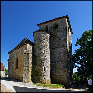 Staircase tower - Staircase tower with no external door on the church of Saint-Pierre-ès-Liens in Rampoux (Lot), France