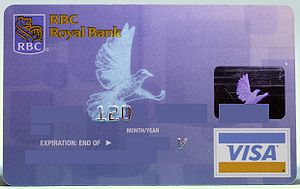 Photo of a RBC Visa taken under a UV light to ...