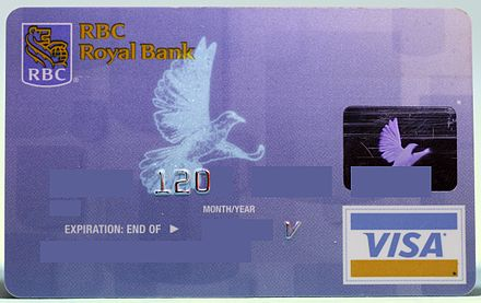 A bird appears on many Visa credit cards when they are held under a UV light source RBC Visa UV.jpg