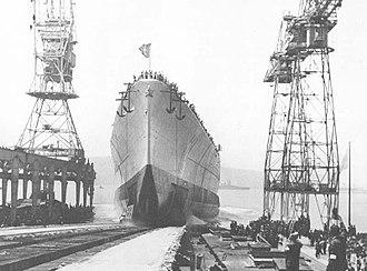 Italian battleship Roma (1940) - Roma being launched, June 9, 1940