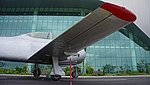 ROKAF T-28A(17-816) right wing right rear low-angle view at Jeju Aerospace Museum June 6, 2014.jpg