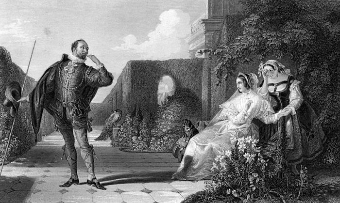 Malvolio courts a bemused Olivia, while Maria covers her amusement, in an engraving by R. Staines after a painting by Daniel Maclise. R Staines Malvolio Shakespeare Twelfth Night.jpg