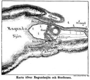 Döda fallet - Map of downstream end of Ragundasjön (annotated in Swedish)
