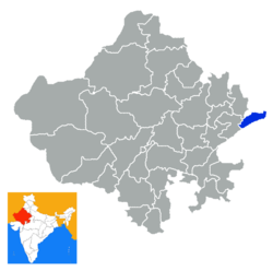 Location of Dholpur district in Rajasthan