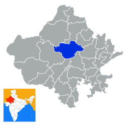 Location of Nagaur (Nāgaur) district in Rajasthan