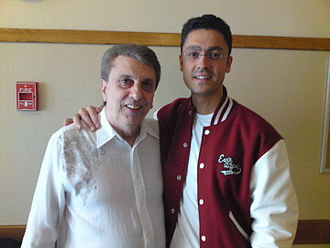 Randy & the Rainbows - Randy Safuto and Christian Carrasco, one of the members of the Spanish doo-wop band The Earth Angels, during their participation in the festival of this genre at the Benedum Center for the Performing arts in Pittsburgh, Pennsylvania