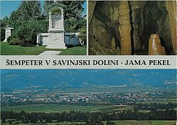 1969 postcard of Šempeter v Savinjski Dolini. Clockwise from top: Roman necropolis in Šempeter, Hell Cave (in Zalog pri Šempetru), panoramic view of Šempeter