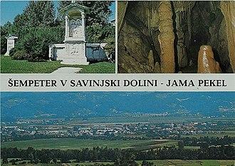 Šempeter v Savinjski Dolini - 1969 postcard of Šempeter v Savinjski Dolini. Clockwise from top: Roman necropolis in Šempeter, Hell Cave (in Zalog pri Šempetru), panoramic view of Šempeter