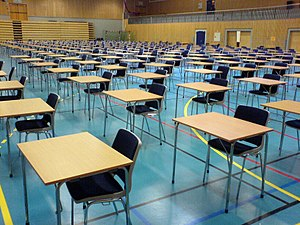 Tables and chairs ready for students's final e...