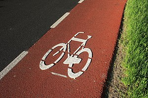 Bike lane - Image: Red Bike Lane