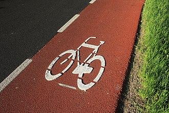 Bike lane - Image: Red Bike Lane