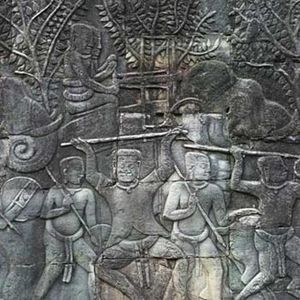 Military history of Cambodia - Ballista war elephants attacking the Chams