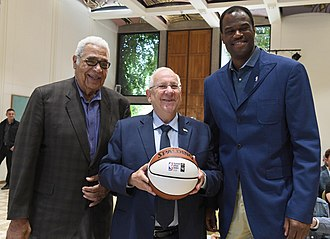 Wayne Embry - Wayne Embry (left) and David Robinson meeting with Reuven Rivlin, President of Israel, at Beit HaNassi, August 2017