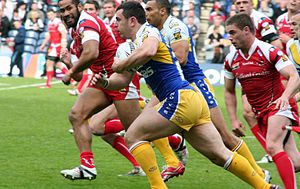 Rhys Williams (rugby league) - Williams playing for Warrington