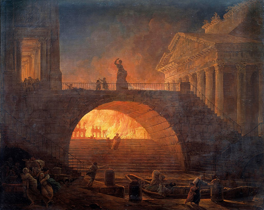 A depiction of the fire burning through the city.
