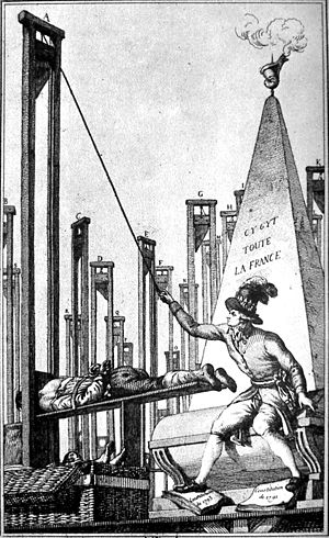 Law of 22 Prairial - contemporary cartoon showing Robespierre executing the executioner. The monument in the background carries the inscription 'Here Lies All Of France'