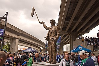 Vancouver Canucks - A statue of coach Roger Neilson outside of Rogers Arena, commemorating the 1982 Stanley Cup run.