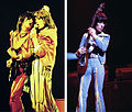 Rolling Stones Ron Wood and Mick Jagger plus Bill Wyman (Chicago 1975).jpg