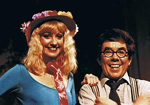 Ronnie Corbett - Corbett and Susie Silvey on the set of Sorry!, 1980s.