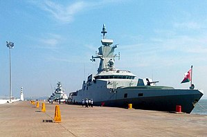 Royal Navy of Oman - RNOV Al-Shamikh, (nearest) a modern Corvette and RNOV Al-Seeb, a Fast Attack Craft moored in Goa harbour 2016