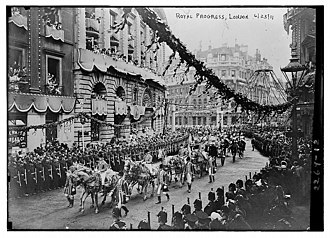Coronation of King George V and Queen Mary - The royal progress in the City of London on 23 June.