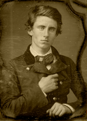 """Benjamin Piatt Runkle - Daguerreotype image of Benjamin Piatt Runkle circa 1857, then an undergraduate student at Miami University in Oxford, Ohio, U.S.A. around the time of the founding of the then-called """"Sigma Chi Society."""""""