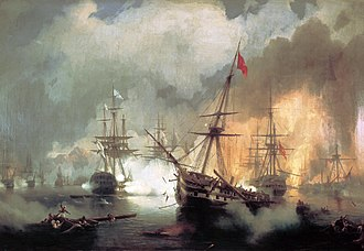 Imperial Russian Navy - Battle of Navarino, by Ivan Aivazovsky, showing the Russian squadron, in line ahead (left-centre, white flags with blue transversal crosses) bombarding the Ottoman fleet (right, with red flags)