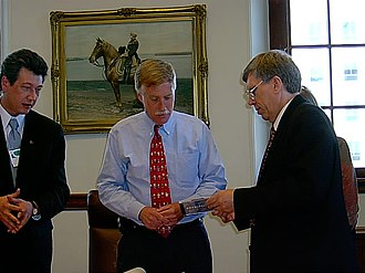 Angus King - King meets with a Russian delegation as Maine governor in October 2002.