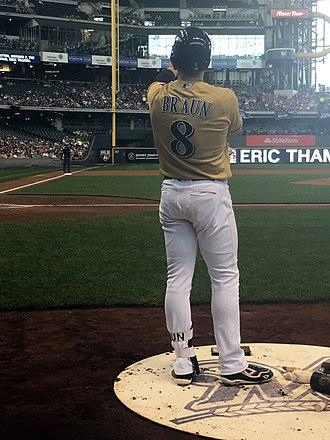 Milwaukee Brewers - Ryan Braun in the batters circle at Miller Park in Milwaukee on July 10, 2017