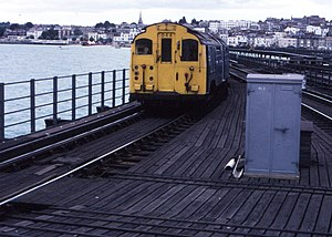 London Underground Standard Stock - 1927 Stock train arriving at Ryde Pier Head station.