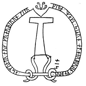 Mjölnir - Drawing of hammer depicted on runic inscription Sö 86 located in Åby, Uppland, Sweden.