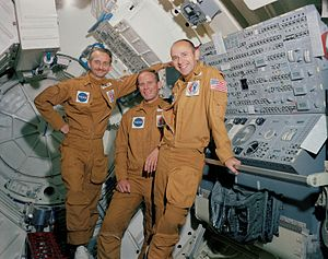 Jack R. Lousma - The Skylab 3 crew, left to right: Owen K. Garriott, Jack Lousma, and Alan Bean
