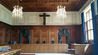Separation of church and state - Courtroom with Crucifix in Nuremberg, Germany, June 2016