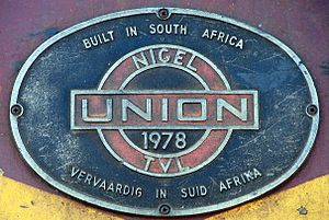 Union Carriage & Wagon - Builder's plate on South African Class 6E1 Series 7 E1862