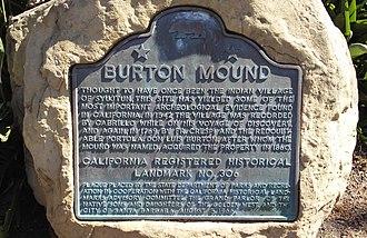 California Historical Landmarks in Santa Barbara County, California - Image: SB Burton Mound Landmark Plaque 20170915