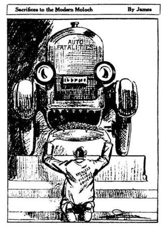 Effects of the car on societies - Sacrifices to the Modern Moloch, a cartoon published in The New York Times, satirising the indifference from the society regarding the increasing on automobile related traffic fatalities.