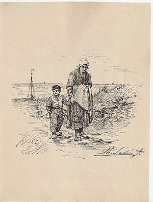 Philip Sadée - Image: Sadee pentekening vrouw met kind in duinen