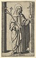 Saint Catherine of Siena standing holding flowers and book in her right hand, a heart and crucifix in her left, from the series 'Piccoli Santi' (Small Saints) MET DP853508.jpg