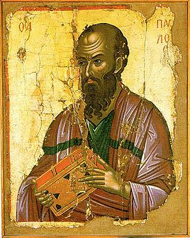 Pablo de Tarso según una representación en el monasterio de Stavronikita, en el Monte Athos.