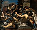 Saint Sebastian being succoured by a surgeon and others. Oil Wellcome V0017369.jpg