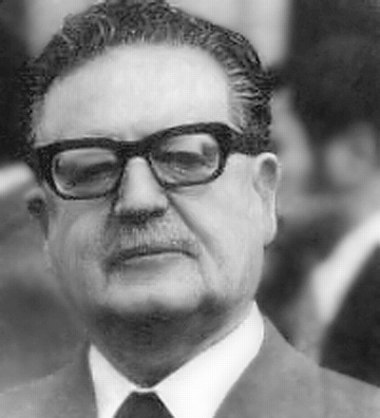Salvador Allende, President of Chile and member of the Socialist Party of Chile, whose presidency and life was ended by a CIA-backed military coup Salvador Allende 2.jpg