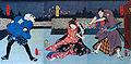 San-nin Kichisa Kuruwa no Hatsu-gai 1860 by Toyokuni III.jpg