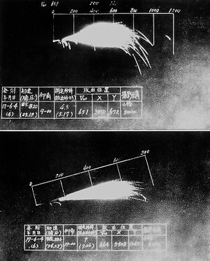 San Shiki (anti-aircraft shell) - The explosion of a 46cm San Shikidan incendiary anti-aircraft shell.