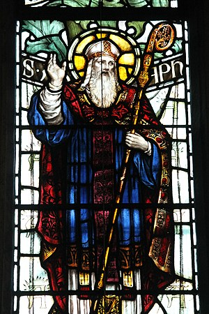 Saint Asaph - Stained glass window of Saint Asaph, St Giles' Church, Wrexham