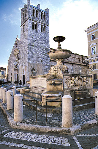 Alatri - Church of Santa Maria Maggiore and Fontana Pia.
