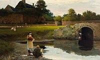 Santry River (Dublin), mouth, in Kavanagh JM - A Grey Day, Watermill Bridge (1895).jpg