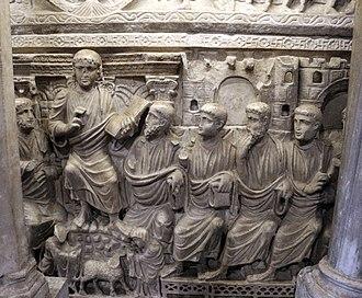 Sarcophagus of Stilicho - Image: Sarcofago detto di stilicone, IV secolo, gesù tra gli apostoli 03