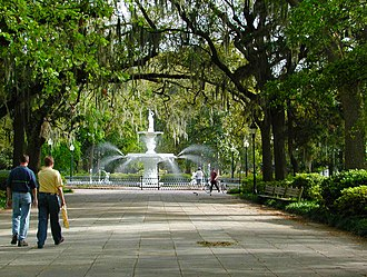 Urban open space - Forsyth Park is a large urban open space area in the downtown district of Savannah, Georgia.