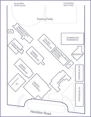 Westfields Sports High School - A map of Westfields Sports, outlining the positions of each structure around the campus